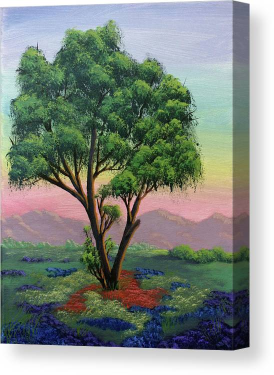 Tree Canvas Print featuring the painting Fading Day by Dawn Blair