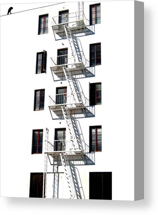 Building Canvas Print featuring the photograph Fire Escape II by Helaine Cummins