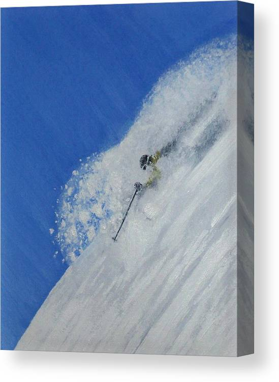 Ski Canvas Print featuring the painting First by Michael Cuozzo
