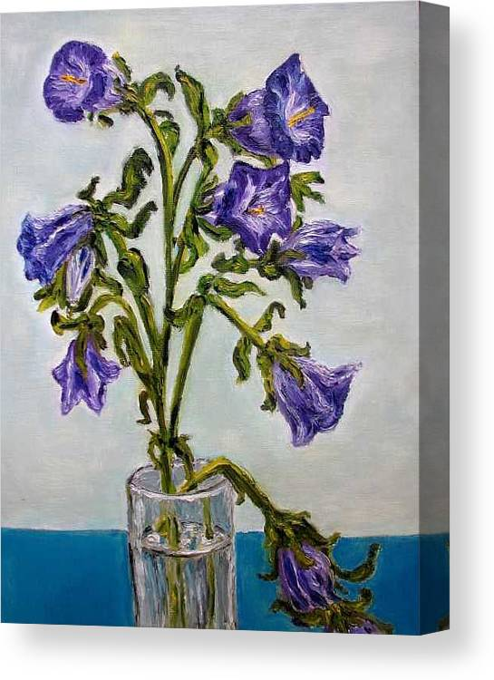 Flower Canvas Print featuring the painting Flower Bluebells Original Oil Painting by Natalja Picugina
