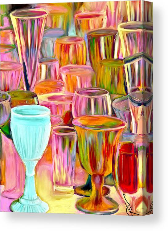 Glasses Canvas Print featuring the painting Glass Collection by Jude Reid