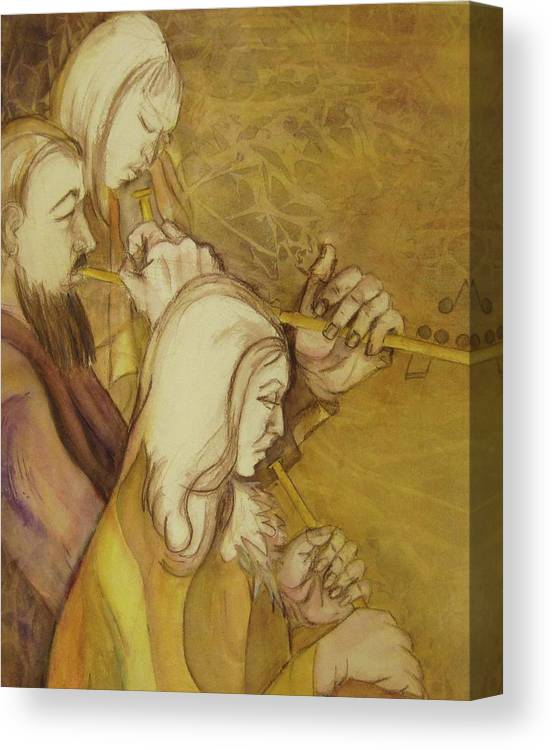 This Is A Framed And Matted Watercolor Painting Of Three Musicians. Rendered In Golds And Violets. Canvas Print featuring the painting Harmony by Georgia Annwell