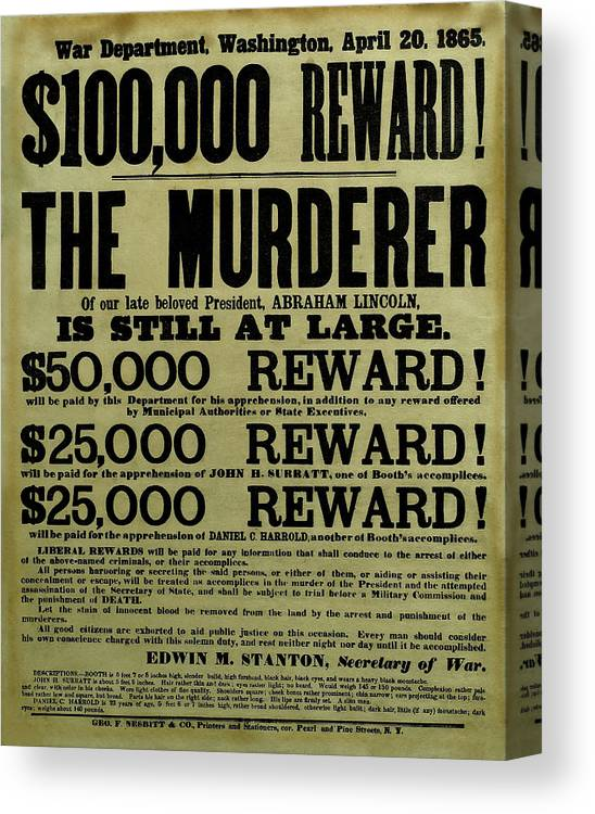 Wanted Canvas Print featuring the mixed media John Wilkes Booth Wanted Poster by War Is Hell Store