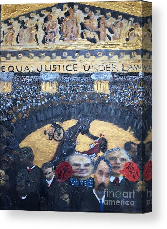 Judge Richard J. Leon Canvas Print featuring the painting Judge Richard J Leon Complicity by Color of Law Center