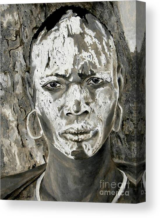 Tribal Art Canvas Print featuring the painting Karo Man by Portraits By NC