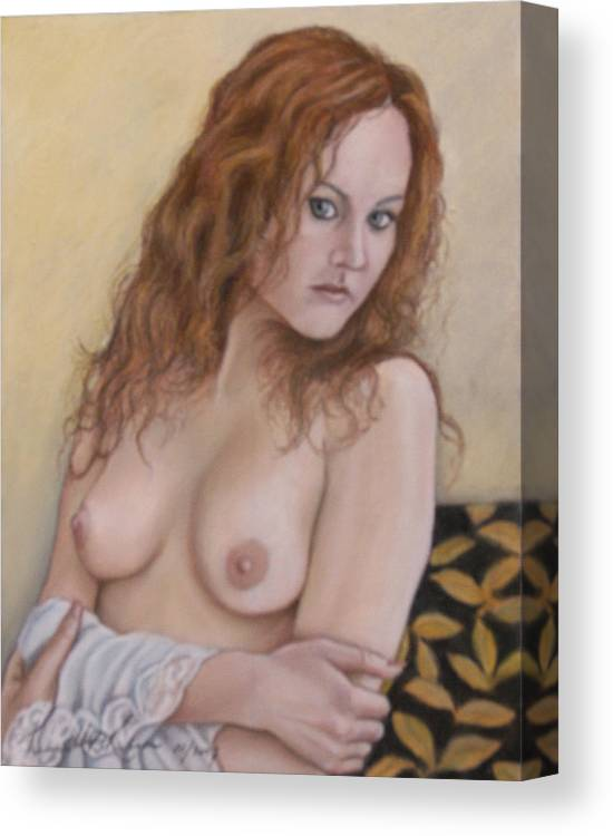 Young Lady Canvas Print featuring the painting Lady With Red Hair by Kenneth Kelsoe