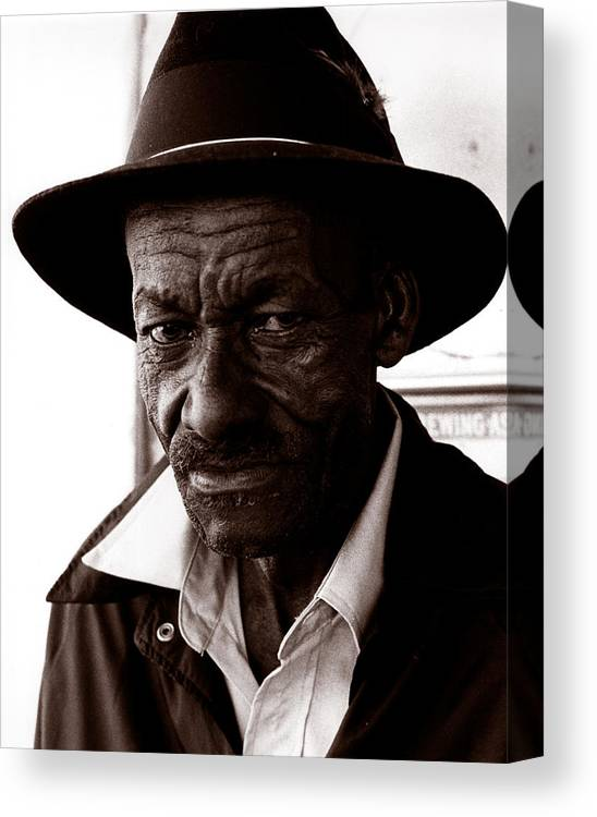 Portrait Canvas Print featuring the photograph Legendary Bluesman And Folk Artist James Son Thomas by David Thompson