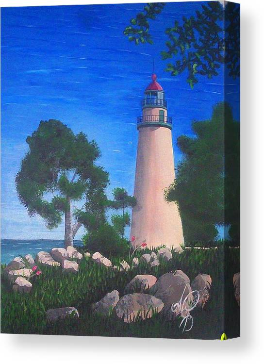 Angela Mustin Canvas Print featuring the painting Lighthouse by Angela Mustin