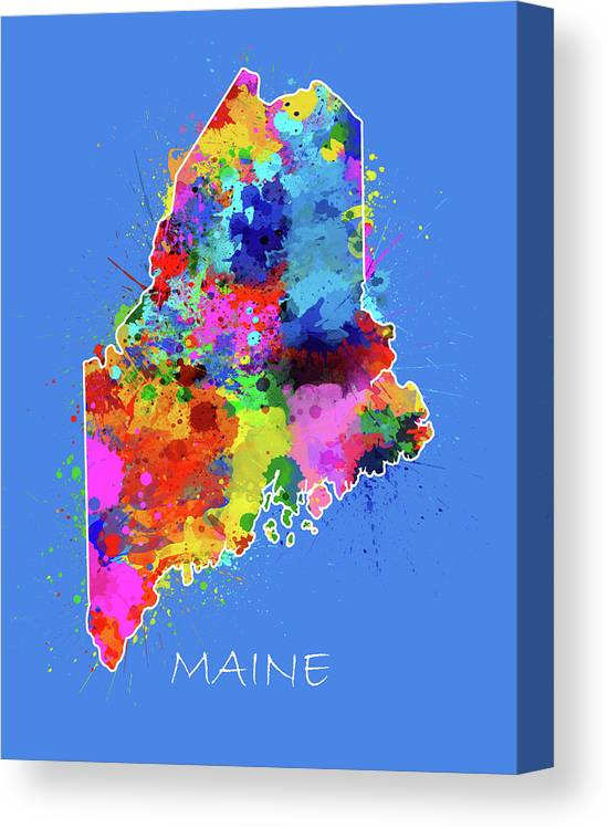 Maine Canvas Print featuring the digital art Maine Map Color Splatter 3 by Bekim M
