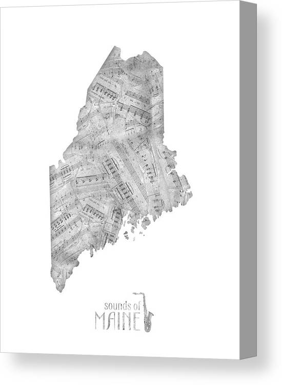 Maine Canvas Print featuring the digital art Maine Map Music Notes by Bekim M