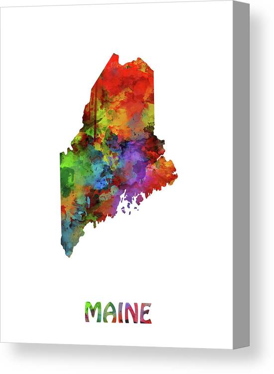 Maine Canvas Print featuring the digital art Maine Map Watercolor by Bekim M