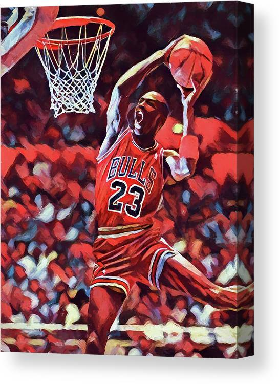 76d5a13d59f74e Michael Jordan Slam Dunk Canvas Print featuring the painting Michael Jordan  Slam Dunk by Dan Sproul