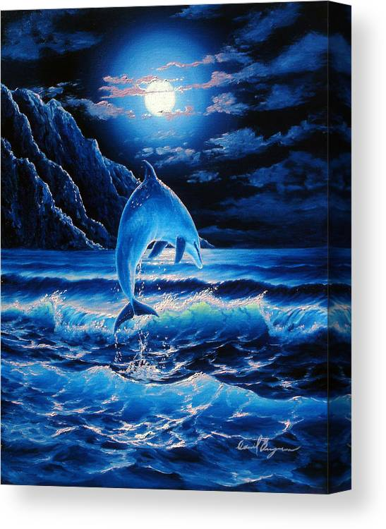 Dolphin Canvas Print featuring the painting Midnight Play by Daniel Bergren