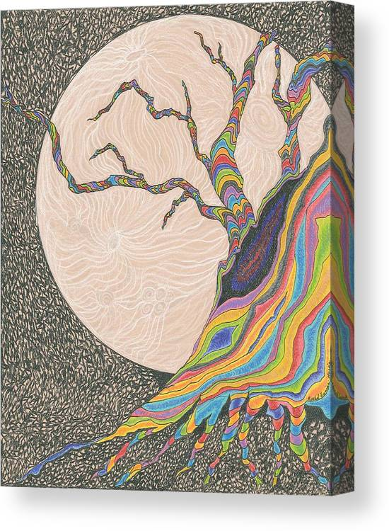 Tree Canvas Print featuring the drawing Mysterious Universe by Rachel Zuniga