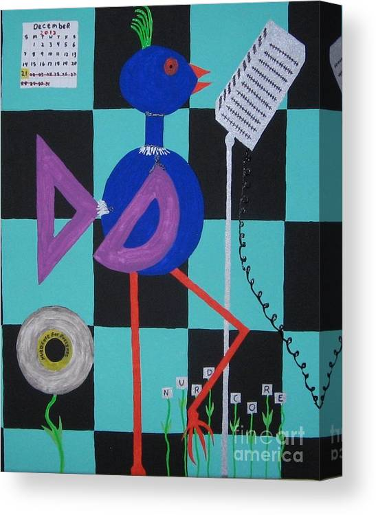 Nurdcore Music Canvas Print featuring the painting Nerdcore Bird by Gregory Davis