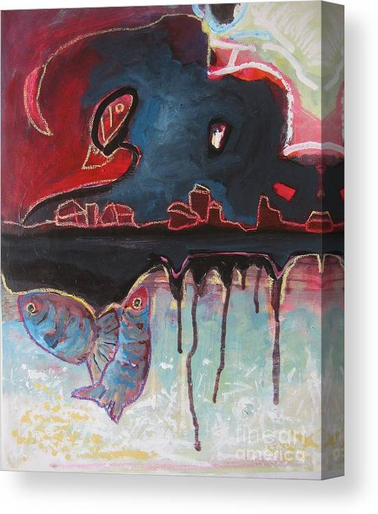 Abstract Paintings Canvas Print featuring the painting Nipper by Seon-Jeong Kim