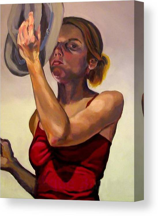 Portraits Canvas Print featuring the painting Oh How The Tables Have Turned by Angelique Bowman