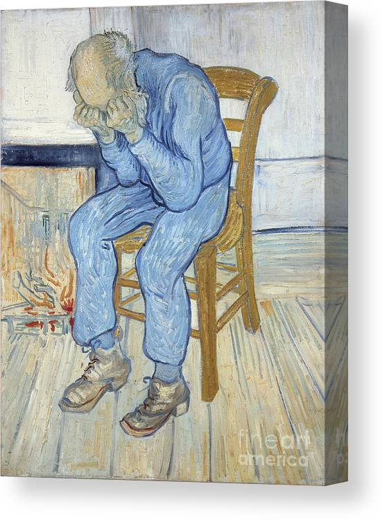 Male; Elderly; Seated; Head In Hands; Despair; Desperate Canvas Print featuring the painting Old Man In Sorrow by Vincent van Gogh