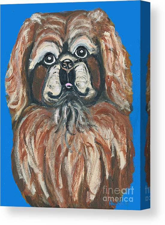 Pekingese Canvas Print featuring the painting Peke For You by Ania M Milo