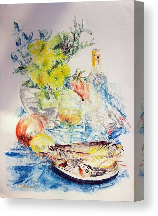 Still Life Canvas Print featuring the drawing Poissons by Muriel Dolemieux
