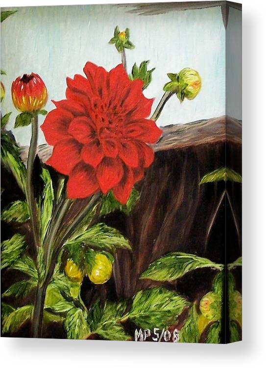 Flower Canvas Print featuring the painting Red Dahlia by Madeleine Prochazka