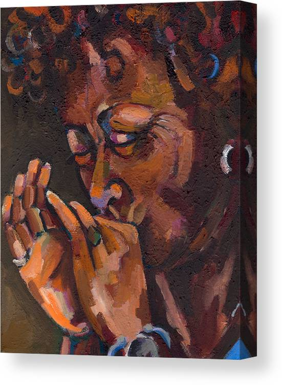 Portrait Canvas Print featuring the painting Self Portrait by Jackie Merritt