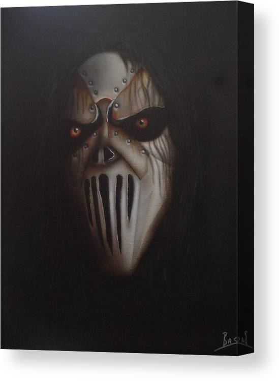 Mick Thomson Canvas Print featuring the painting Slipknot #7 by Bas Hollander