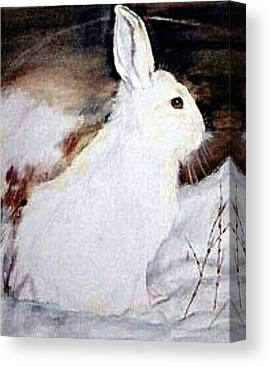 Snowshoe Hare Canvas Print featuring the painting Snow Bunny by Debra Sandstrom