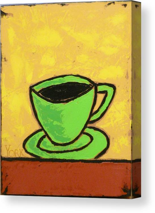Coffee Canvas Print featuring the painting Solo Coffee II by Ron York