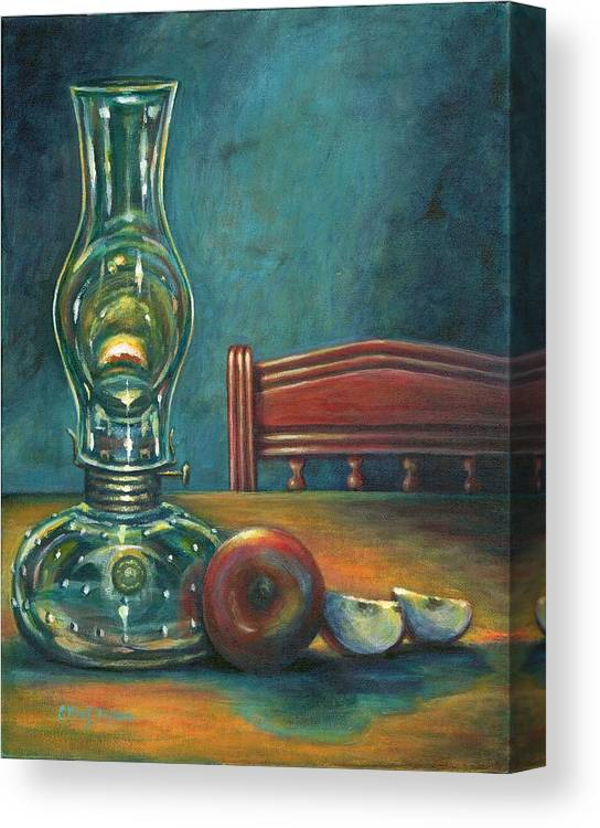 Lamp Canvas Print featuring the painting Still Life With Apples by Colleen Maas-Pastore