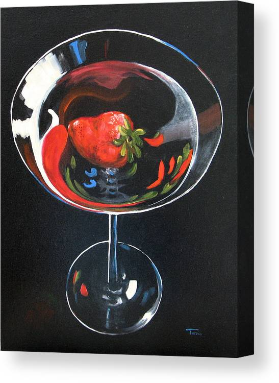 Bar Art Canvas Print featuring the painting Strawberry Martini by Torrie Smiley
