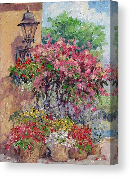 Flowering Trees Canvas Print featuring the painting Taste Of Italy by L Diane Johnson