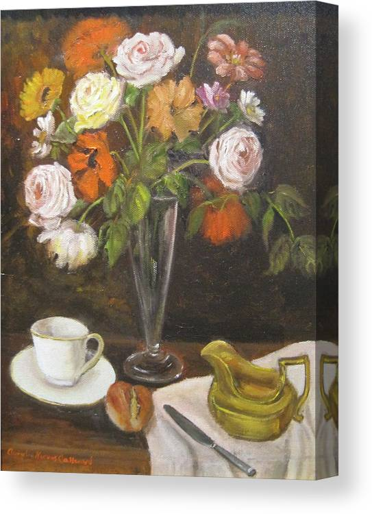 Teacup And Saucer Canvas Print featuring the painting Teacup And Flowers by Aurelia Nieves-Callwood