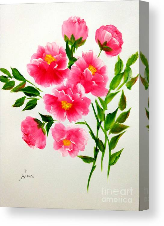 Flowers Canvas Print featuring the painting The Beauty Of Peonies by Jennilyn Villamer Vibar