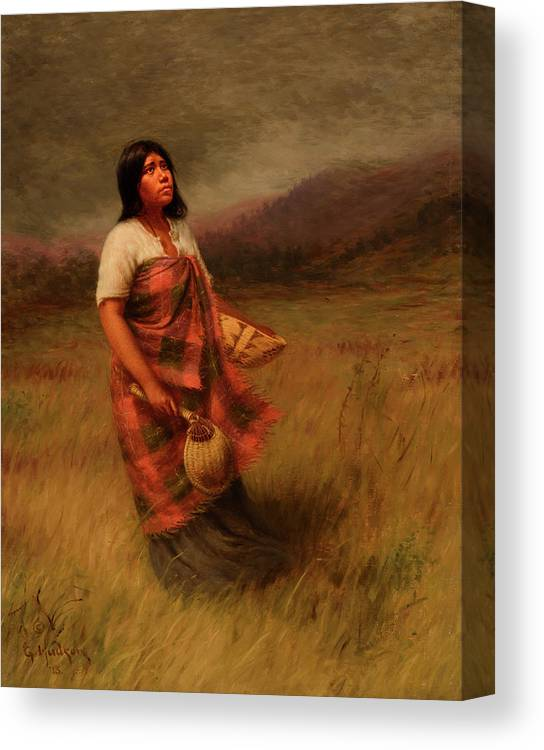 Feathers Canvas Print featuring the painting The Call Of Makila Mad Tha by Grace Carpenter Hudson
