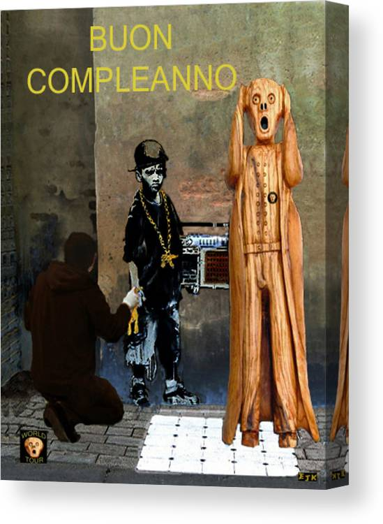 Boun Compleanno Canvas Print featuring the mixed media The Scream World Tour Street Art Happy Birthday Italian by Eric Kempson