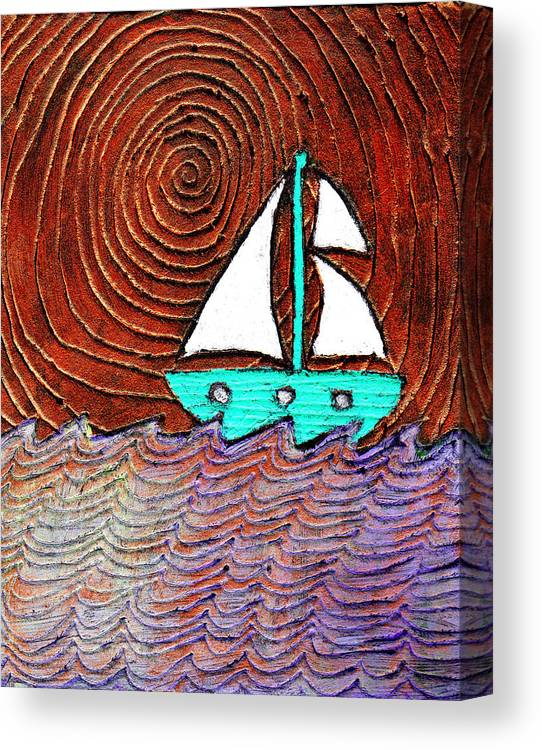 Sailing Canvas Print featuring the painting The Sky Was Bronze That Night by Wayne Potrafka