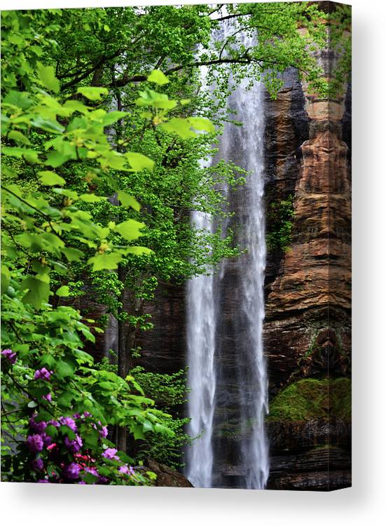 Waterfall Canvas Print featuring the photograph Toccoa Falls In Georgia by Eva Thomas
