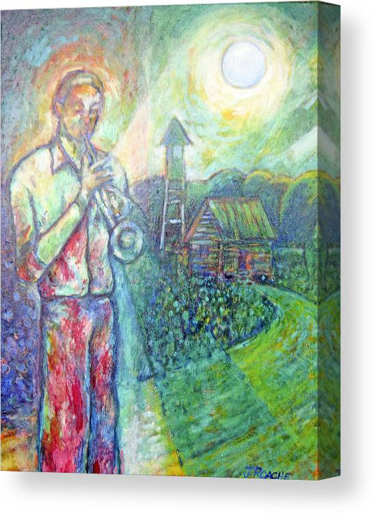 House Canvas Print featuring the painting Trumpet Man by Joe Roache