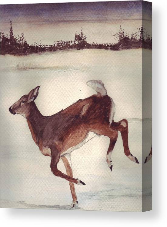 Whitetail Deer Canvas Print featuring the painting Twilight Run by Debra Sandstrom