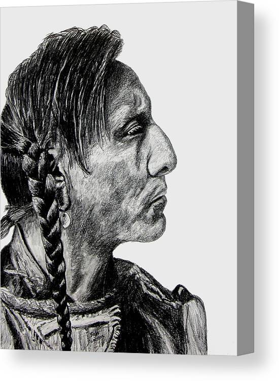 Indian Canvas Print featuring the drawing Unknown Indian II by Stan Hamilton