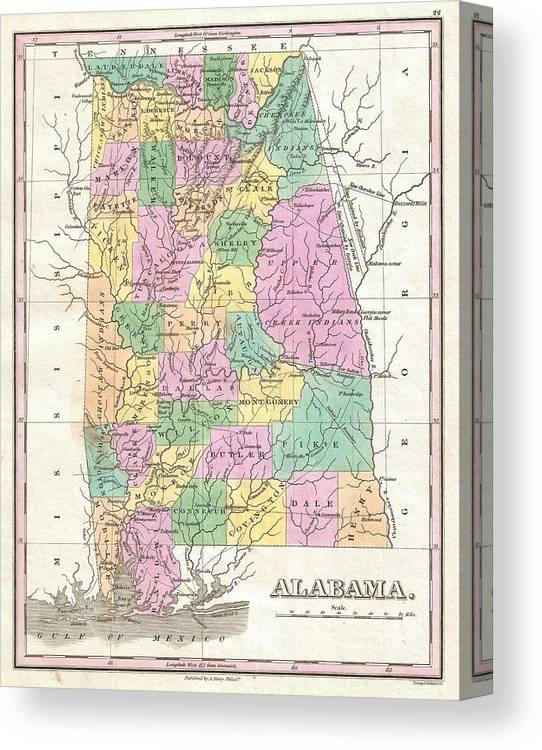 picture regarding Printable Map of Alabama called Classic Map Of Alabama Canvas Print