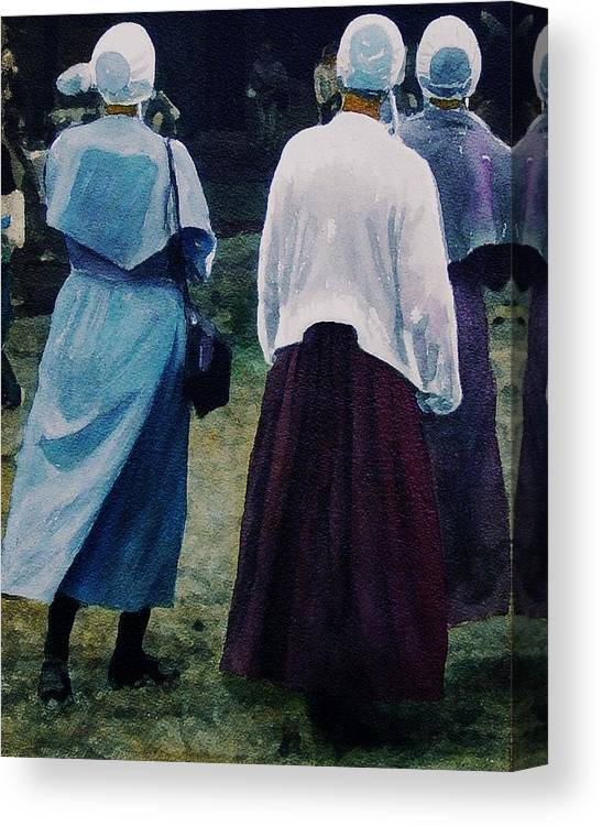 Oil Canvas Print featuring the painting War Eagle Ladies by Tom Herrin