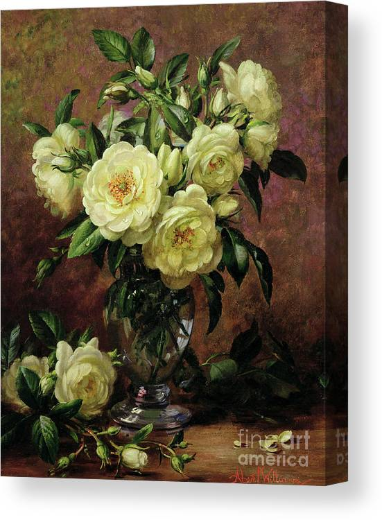 Rose; Still Life; Flower; Arrangement; Vase; Floral; Sentimental; Symbolic; Roses; White Roses; White Roses On The Floor; White Petals On The Floor Canvas Print featuring the painting White Roses - A Gift From The Heart by Albert Williams
