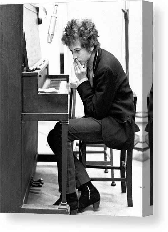 Piano Canvas Print featuring the photograph Bob Dylan Records Highway 61 Revisited by Michael Ochs Archives