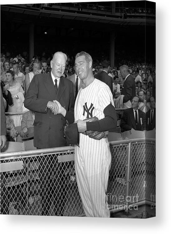 American League Baseball Canvas Print featuring the photograph New York Yankees 4 by Olen Collection