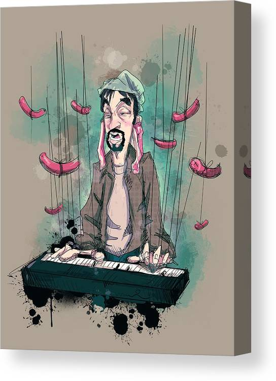 Tom Green Canvas Print featuring the drawing Daddy Would You Like Some Sausage by Ludwig Van Bacon