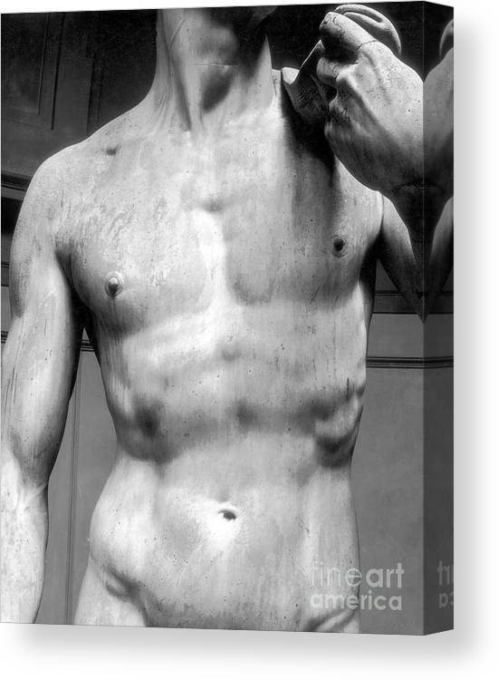 David Canvas Print featuring the sculpture David Detail Marble by Michelangelo