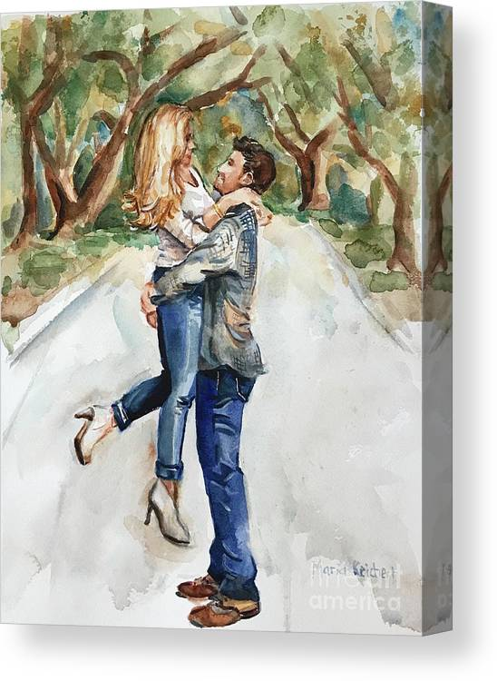 Engaged Canvas Print featuring the painting Marry Me by Maria Reichert