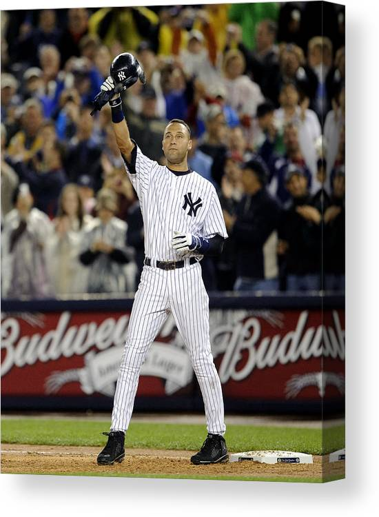 People Canvas Print featuring the photograph New York Yankees Derek Jeter Breaks Lou by New York Daily News Archive